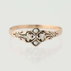 Victorian Diamond & Seed Pearl Ring - 10k Yellow Gold Antique Size 5 1/2  | eBay