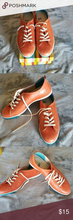 Ecco Leather Sneakers Ecco Leather 👟 Sneakers.  Orange with royal blue gel bottom.  Size 10. Very comfortable!!!!  Estate Sale!!!!! Ecco Shoes Sneakers