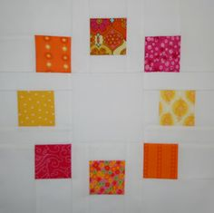 I always love the illusion of circles in piecing.  This one looks easy and a good way to use up scraps.