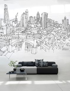 11 Larger Than Life Wall Mural Designs Office Mural, Office Walls, Mural Wall Art, Large Wall Murals, Bedroom Murals, Wall Drawing, Room Wallpaper, Unique Wallpaper, Wallpaper Ideas