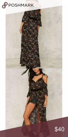 Nasty Gal Chill Pill Dress Adjustable straps. Dress buttons down the front with front slit. Very soft. Nasty Gal Dresses Maxi