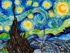 """Reproducción al óleo de la célebre """"Noche estrellada"""" del pintor impresionista Van Gogh."""