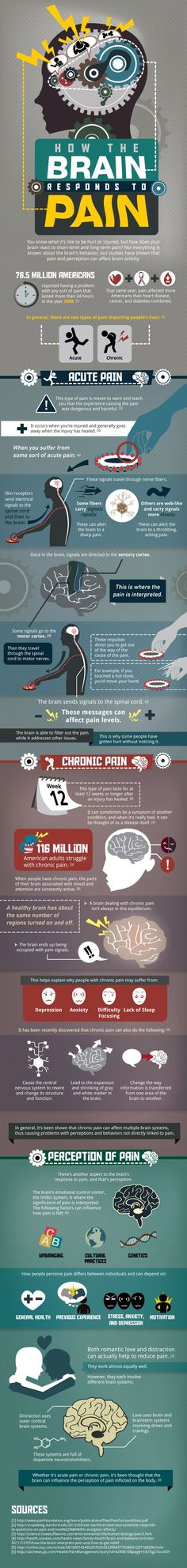 How your Brain responds to Pain The neuroscience of how chronic pain rewires your brain [infographic] - Your Brain Health Chronic Fatigue, Chronic Pain, Chronic Illness, Brain Injury, Invisible Illness, Pain Management, Brain Health, Autoimmune Disease, Physiology