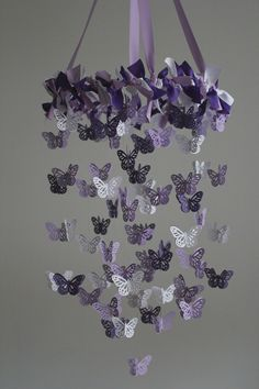 Butterfly Nursery Mobile  Purple Mobile by mauilustre on Etsy, $49.00