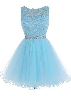 Tideclothes Short Beaded Prom Dress Tulle Applique Homecoming Dress Blue US8