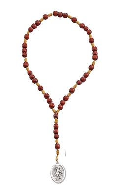 Saint St Michael Chaplet Rosary with Cherry Wood Beads and Medal - 10 Inch * Click image to review more details.