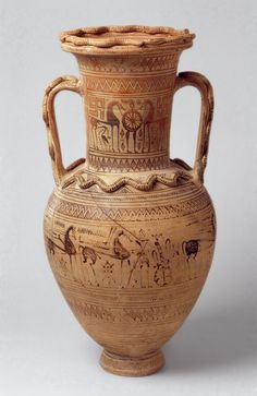 Terracotta neck-amphora Period: Geometric Date: 4th quarter of the 8th century B.C. Culture: Greek, Attic Medium: Terracotta