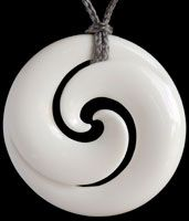 Maori Koru Bone Carving Pendant ~ The Koru is often intertwined with other forms such as twists and matau to tell a very special & powerful story.
