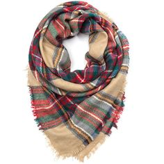 Plaid In Love Square Scarf featuring polyvore, women's fashion, accessories, scarves, multi, tartan plaid shawl, plaid shawl, holiday scarves, plaid scarves and square scarves