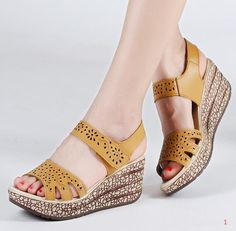 Summer Women Wedge Outdoor Leather Beach Sandals Platform Piscine Mouth Shoes – Christina B – Join in the world of pin Wedge Sandals, Wedge Shoes, Sandals Platform, Beach Sandals, Trendy Shoes, Casual Shoes, Women's Shoes, Golf Shoes, Womens Summer Shoes
