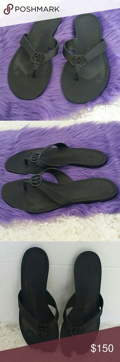 Gucci GG Black Rubber Slide Sandals Size 8 Black rubber slide sandals with GG accents at upper and lower rubber soles. No size listed, seems to be a size 8 Condition- very good, gently used, light scuffs throughout, minor wear at soles. Gucci Shoes Sandals