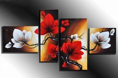 hand-painted  oil wall art Sparks flowers dancing home decoration abstract  Landscape oil painting on canvas 4pcs/set mixorde US $38.98