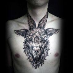 Skull Tattoos, Animal Tattoos, Black Tattoos, Unique Tattoos For Men, Cool Tattoos For Guys, Dark Tattoos For Men, Diy Tattoo, Alex Tabuns, Tattoo Goat