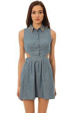 *LA Boutique Dress Wanted Cutout Denim in Blue