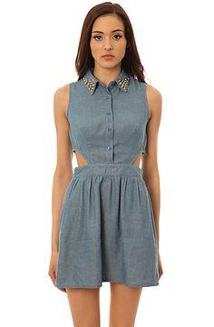 *LA Boutique Dress Wanted Cutout Denim in Blue