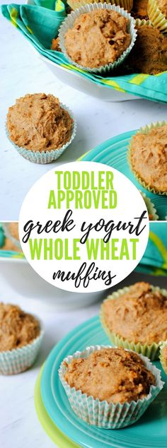 This low-sugar recipe for Greek Yogurt Whole Wheat Muffins is a hit with both adults and toddlers! Enjoy the muffins on their own or top them with creamy peanut butter for a tasty snack or an easy, on-the-go breakfast. Baby Muffins, Toddler Muffins, Toddler Snacks, Low Sugar Recipes, No Sugar Foods, Baby Food Recipes, Muffin Recipes, Toddler Recipes, Greek Yogurt Muffins