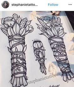 White Sage and crystal tattoo Tattoo Drawings, Body Art Tattoos, New Tattoos, Cool Tattoos, Tattoo Ink, Tatoos, Piercing Tattoo, Piercings, Stick Tattoo