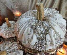Elegant Fall Decor  This would be a great way to use the single earrings and odd pieces of jewelery I have.