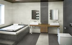 Grey and white Grey And White, Color Schemes, Studios, Bathtub, House, Bathrooms, Tile, Interiors, Colour