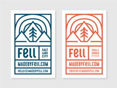 Fell Business Cards designed by Jorrien Peterson. the global community for designers and creative professionals. Business Card Design, Business Cards, Cocktail List, Logo Design, Graphic Design, Logos, Screen Printing, Typography, Design Inspiration
