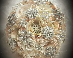 PETAL BROOCH BOUQUET, Custom Soft Pink and Ivory Mix Brooch Bouquet, Jeweled Wedding Bouquet, Brooch Bouquet, Petal Bouquet