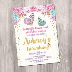 Butterfly Invitation Butterfly Birthday Butterfly Party Birthday