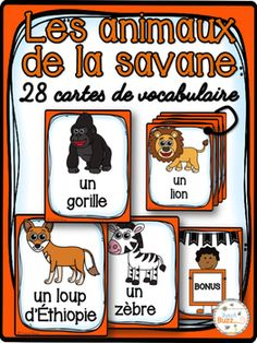 Cartes de vocabulaire sur les animaux de la savane.