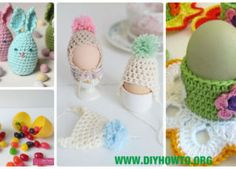 Crochet Easter Egg Cozy, Holder, Hat, Tray Free Patterns & Instructions