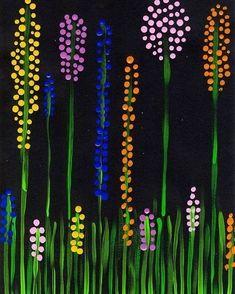 Spring meadow dot painting - Kunst grundschule - Welcome Home Spring Painting, Dot Painting, Painting Canvas, Summer Crafts, Summer Art, Art Floral, Flower Crafts, Flower Art, Diy Flowers