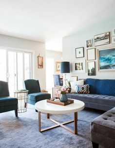 Design by Emily Henderson // living room // blue, gray, gallery wall