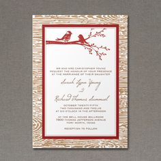 Wedding Invitation Template with Rustic Bird Design 1