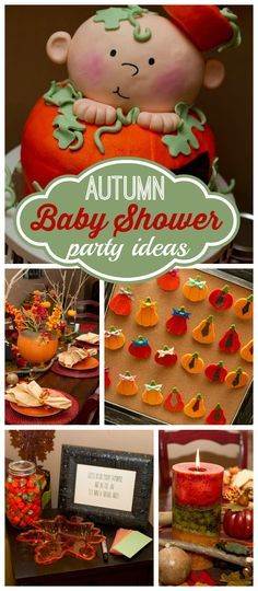 "An ""our lil' pumpkin"" gender reveal baby shower party with voting and pumpkin cake!  See more party planning ideas at CatchMyParty.com!"