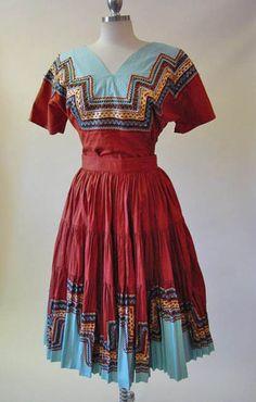 1950s 2pc Southwest Squaw Dress