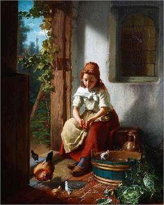 THEODORE GERARD (Belgian 1828-1895) FEEDING THE CHICKENS-1863