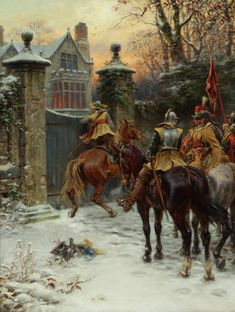 Roundheads searching for Cavalier troops at a manor