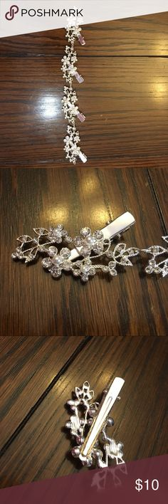 Claire's floral bridal head piece Claire's floral bridal headpiece.  Worn once and like brand new condition.  All stones and pearls are still in place.  Clips to easily secure in hair.  9 inches long.  Comes from a smoke free and pet free home Claire's Accessories Hair Accessories