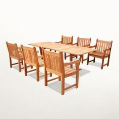 $1,989 - Rectangular Extension Table & Armchair Outdoor Dining Set - This set is made from eco-friendly FSC High Density Eucalyptus grown in 100% well managed forests in Brazil certified by the FSC (Forest Stewardship Council). There is little difference between Eucalyptus and Teak when broken down to their core essence. The biggest attribute of Eucalyptus is undoubtedly the strength of the timber. It renowned for its excellent resistance to every day wear and tear. It is extremely dur...