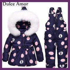 Dulce Amor Winter Warm Baby Infant Down jacket Clothes Set Polka Dots Detachable Cap Snowsuit + Romper Russian Winter Clothes