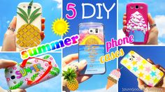 In this video I show five easy ways to customize your phone cases for summer. You'll find out how to make Pineapple, Ice Cream, Funny Flip-flop, glittery sun...