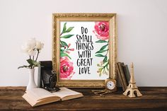 Inspirational Print Do Small Things With by #PrintableBeautyArt #Motivational_Quote #Digital_Prints #Typography_Quote