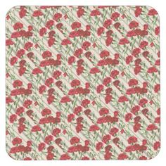 Shop red flowers print square paper coaster created by The_Olden_Eye.