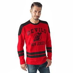 NHL New Jersey Devils Men's Opponent Long Sleeve Fashion Top, Red/Black, Large