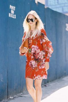Dress: vanessa jackman, blogger, floral dress, ruffle dress, ruffle, flowers, long sleeve dress, oversized sunglasses, printed dress - Wheretoget
