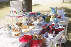 Dessert table at Gingerbread House Decorating Party