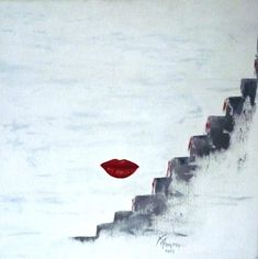 FREE SHIPING, Expressive Modern Art Wall Decor, Original Hand Made, Oil  painting , Red, Gray.