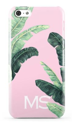 Palm Beach Chic Light Pink With Banana Leaves Phone or iPad Case