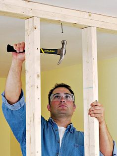 Framing an Interior Wall with Wood Studs   When you add a wall in your house, it will either run perpendicular or parallel to the ceiling joists. Perpendicular construction is easier because you have built-in attachment points for the top plate where it crosses each joist. Parallel construction involves a bit more work because you'll need to add blocking between the joists.