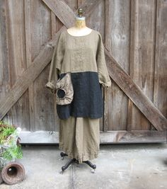 linen tunic top blouse in cocoa brown and black with rose pouf pocket ready to ship. $130.00, via Etsy.