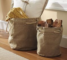 burlap jute baskets with canvas reinforcement fabric inside for durability.  line with interface for sturdy structure.