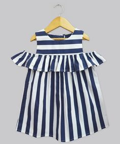 Another great find on #zulily! Navy Stripe Lucy Ruffle Cutout Dress - Infant, Toddler & Girls #zulilyfinds